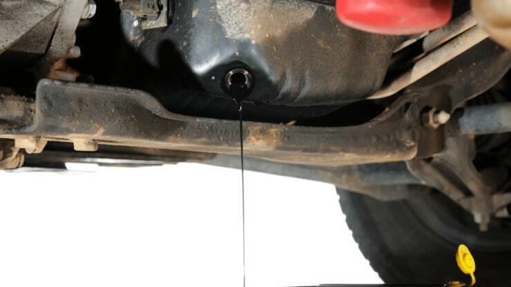 Draining Engine Oil